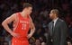 Apr 8, 2014; Los Angeles, CA, USA; Houston Rockets forward Donatas Motiejunas (20) and assistant coach J.B. Bickerstaff during the game against the Los Angeles Lakers at Staples Center. Mandatory Credit: Kirby Lee-USA TODAY Sports