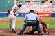 Apr 13, 2014; Atlanta, GA, USA; Atlanta Braves left fielder Justin Upton (8) hits a two run home run in the first inning against the Washington Nationals at Turner Field. Mandatory Credit: Daniel Shirey-USA TODAY Sports