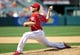 April 13, 2014; Anaheim, CA, USA; Los Angeles Angels relief pitcher Kevin Jepsen (40) pitches the eighth inning against the New York Mets at Angel Stadium of Anaheim. Mandatory Credit: Gary A. Vasquez-USA TODAY Sports