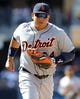 Apr 13, 2014; San Diego, CA, USA; Detroit Tigers first baseman Miguel Cabrera (24) runs the ball to first base for the final out of the eighth inning against the San Diego Padres at Petco Park. Mandatory Credit: Christopher Hanewinckel-USA TODAY Sports
