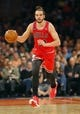 Apr 13, 2014; New York, NY, USA;  Chicago Bulls center Joakim Noah (13) brings the ball up court during the first half against the New York Knicks at Madison Square Garden. Mandatory Credit: Jim O'Connor-USA TODAY Sports