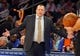 Apr 13, 2014; New York, NY, USA;  Chicago Bulls head coach Tom Thibodeau reacts during the first half against the New York Knicks at Madison Square Garden. Mandatory Credit: Jim O'Connor-USA TODAY Sports