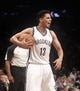 Apr 13, 2014; Brooklyn, NY, USA; Brooklyn Nets guard Jorge Gutierrez (13) reacts against Orlando Magic in the fourth quarter at Barclays Center. Nets win 97-88. Mandatory Credit: Nicole Sweet-USA TODAY Sports