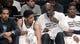 Apr 13, 2014; Brooklyn, NY, USA; Brooklyn Nets forward Kevin Garnett (2) talks to  guard Jorge Gutierrez (13) in the second quarter against Orlando Magic at Barclays Center. Nets win 97-88. Mandatory Credit: Nicole Sweet-USA TODAY Sports