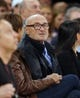 Apr 13, 2014; New York, NY, USA;  Musician and actor Phil Collins court side during game between the New York Knicks and the Chicago Bulls at Madison Square Garden. New York Knicks defeat the Chicago Bulls 100-89. Mandatory Credit: Jim O'Connor-USA TODAY Sports