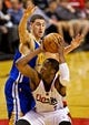 Apr 13, 2014; Portland, OR, USA; Portland Trail Blazers guard Wesley Matthews (2) drives past Golden State Warriors guard Klay Thompson (11) during the third quarter at the Moda Center. Mandatory Credit: Craig Mitchelldyer-USA TODAY Sports