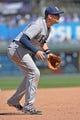 Apr 9, 2014; Kansas City, MO, USA; Tampa Rays third basemen Evan Longoria (3) gets set on defense against the Kansas City Royals during the fifth inning at Kauffman Stadium. Mandatory Credit: Peter G. Aiken-USA TODAY Sports