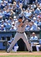 Apr 9, 2014; Kansas City, MO, USA; Tampa Rays first basemen James Loney (21) at bat against the Kansas City Royals during the first inning at Kauffman Stadium. Mandatory Credit: Peter G. Aiken-USA TODAY Sports