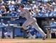 Apr 9, 2014; Kansas City, MO, USA; Tampa Rays third basemen Evan Longoria (3) runs to first after a base hit against the Kansas City Royals during the first inning at Kauffman Stadium. Mandatory Credit: Peter G. Aiken-USA TODAY Sports