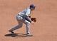 Apr 9, 2014; Kansas City, MO, USA; Tampa Rays third basemen Evan Longoria (3) get set on defense against the Kansas City Royals during the third inning at Kauffman Stadium. Mandatory Credit: Peter G. Aiken-USA TODAY Sports