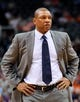 Apr 2, 2014; Phoenix, AZ, USA; Los Angeles Clippers head coach Doc Rivers stands on the court during a timeout during the second quarter against the Phoenix Suns at US Airways Center. The Clippers won 112-108. Mandatory Credit: Casey Sapio-USA TODAY Sports