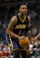 Apr 9, 2014; Milwaukee, WI, USA; Indiana Pacers forward Lavoy Allen (5) during the game against the Milwaukee Bucks at BMO Harris Bradley Center.  Indiana won 104-102.  Mandatory Credit: Jeff Hanisch-USA TODAY Sports