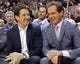 Apr 14, 2014; Toronto, Ontario, CAN; Newly appointed Toronto Maple Leafs president and alternate governor Brendan Shanahan (left) talks with TSN broadcaster Rod Black (right) during a break in the action of a game between the Toronto Raptors and Milwaukee Bucks during the first half at the Air Canada Centre. Mandatory Credit: John E. Sokolowski-USA TODAY Sports