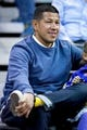 Apr 14, 2014; Salt Lake City, UT, USA; Real Salt Lake goalkeeper Nick Rimando sits court side during the first half at the NBA game between the Utah Jazz and the Los Angeles Lakers at EnergySolutions Arena. Mandatory Credit: Russ Isabella-USA TODAY Sports