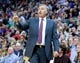 Apr 14, 2014; Salt Lake City, UT, USA; Los Angeles Lakers head coach Mike D'Antoni signals to his players during the first half against the Utah Jazz at EnergySolutions Arena. Mandatory Credit: Russ Isabella-USA TODAY Sports