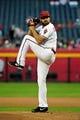 Apr 14, 2014; Phoenix, AZ, USA; Arizona Diamondbacks relief pitcher Josh Collmenter (55) throws during the first inning against the New York Mets at Chase Field. Mandatory Credit: Matt Kartozian-USA TODAY Sports