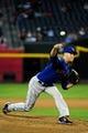 Apr 14, 2014; Phoenix, AZ, USA; New York Mets starting pitcher Zack Wheeler (45) throws during the first inning against the Arizona Diamondbacks at Chase Field. Mandatory Credit: Matt Kartozian-USA TODAY Sports