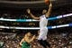 Apr 14, 2014; Philadelphia, PA, USA; Philadelphia 76ers forward Thaddeus Young (21) takes a shot during the third quarter of the game against the Boston Celtics at Wells Fargo Center. Mandatory Credit: John Geliebter-USA TODAY Sports
