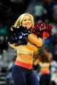 Apr 14, 2014; Atlanta, GA, USA; Atlanta Hawks cheerleaders dances during the game against the Charlotte Bobcats during the second half at Philips Arena. The Bobcats defeated the Hawks 95-93. Mandatory Credit: Dale Zanine-USA TODAY Sports