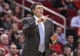 Apr 14, 2014; Houston, TX, USA; Houston Rockets head coach Kevin McHale coaches during the third quarter against the San Antonio Spurs at Toyota Center. Mandatory Credit: Troy Taormina-USA TODAY Sports