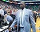 Apr 14, 2014; Salt Lake City, UT, USA; Utah Jazz head coach Tyrone Corbin leaves the court after losing to the Los Angeles Lakers 119-104 at EnergySolutions Arena. Mandatory Credit: Russ Isabella-USA TODAY Sports