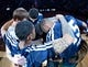 Apr 14, 2014; Salt Lake City, UT, USA; Utah Jazz starters huddle prior to the game against the Los Angeles Lakers at EnergySolutions Arena. The Lakers won 119-104. Mandatory Credit: Russ Isabella-USA TODAY Sports