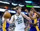 Apr 14, 2014; Salt Lake City, UT, USA; Utah Jazz guard Gordon Hayward (20) looks to pass during the second half against the Los Angeles Lakers at EnergySolutions Arena. The Lakers won 119-104. Mandatory Credit: Russ Isabella-USA TODAY Sports
