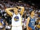 Apr 14, 2014; Oakland, CA, USA; Golden State Warriors guard Klay Thompson (11) reacts after being called for a foul against Minnesota Timberwolves guard Kevin Martin (23) during the second quarter at Oracle Arena. Mandatory Credit: Kelley L Cox-USA TODAY Sports