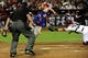 Apr 14, 2014; Phoenix, AZ, USA; New York Mets second baseman Daniel Murphy (28) scores as Arizona Diamondbacks catcher Miguel Montero (26) misses the tag and MLB umpire Hunter Wendelstedt watches during the third inning at Chase Field. Mandatory Credit: Matt Kartozian-USA TODAY Sports