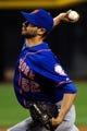 Apr 14, 2014; Phoenix, AZ, USA; New York Mets pitcher Carlos Torres (52) throws during the eighth inning against the Arizona Diamondbacks at Chase Field. Mandatory Credit: Matt Kartozian-USA TODAY Sports
