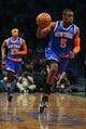 Apr 15, 2014; Brooklyn, NY, USA;  New York Knicks guard Tim Hardaway Jr. (5) drives the lane during the second quarter against the Brooklyn Nets at Barclays Center. Mandatory Credit: Anthony Gruppuso-USA TODAY Sports