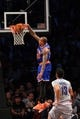Apr 15, 2014; Brooklyn, NY, USA;  New York Knicks guard Shannon Brown (26) dunks during the fourth quarter against the Brooklyn Nets at Barclays Center. New York Knicks won 109-98.  Mandatory Credit: Anthony Gruppuso-USA TODAY Sports