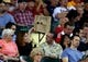 Apr 16, 2014; Phoenix, AZ, USA; A spectator in the crowd wears a paper bag over his head during the game between the Arizona Diamondbacks against the New York Mets at Chase Field. The Mets defeated the Diamondbacks 5-2. Mandatory Credit: Mark J. Rebilas-USA TODAY Sports
