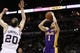 Apr 16, 2014; San Antonio, TX, USA; Los Angeles Lakers guard Jordan Farmar (1) shoots the ball over San Antonio Spurs guard Manu Ginobili (20) during the first half at AT&T Center. Mandatory Credit: Soobum Im-USA TODAY Sports