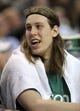 Apr 16, 2014; Boston, MA, USA; Boston Celtics center Kelly Olynyk (41) sits on the bench during the second half against the Washington Wizards at TD Garden. Mandatory Credit: Bob DeChiara-USA TODAY Sports