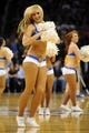 Apr 16, 2014; Oklahoma City, OK, USA;  A member of the Oklahoma City Thunder dance team entertains the fans during a break in action against the Detroit Pistons at Chesapeake Energy Arena. Mandatory Credit: Mark D. Smith-USA TODAY Sports