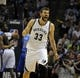 Apr 16, 2014; Memphis, TN, USA; Memphis Grizzlies center Marc Gasol (33) reacts during the game against the Dallas Mavericks at FedExForum. Memphis Grizzlies beat the Dallas Mavericks in overtime 106 - 105. Mandatory Credit: Justin Ford-USA TODAY Sports