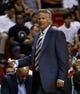 Apr 16, 2014; Miami, FL, USA; Philadelphia 76ers head coach Brett Brown of a game against the Miami Heat in the first half at American Airlines Arena. Mandatory Credit: Robert Mayer-USA TODAY Sports