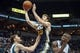 Apr 16, 2014; Minneapolis, MN, USA; Utah Jazz guard Gordon Hayward (20) shoots in the fourth quarter against the Minnesota Timberwolves at Target Center. The Utah Jazz win 136-130 in double overtime. Mandatory Credit: Brad Rempel-USA TODAY Sports