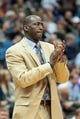 Apr 16, 2014; Minneapolis, MN, USA; Utah Jazz head coach Tyrone Corbin in double overtime against the Minnesota Timberwolves at Target Center. The Utah Jazz win 136-130 in double overtime. Mandatory Credit: Brad Rempel-USA TODAY Sports