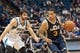 Apr 16, 2014; Minneapolis, MN, USA; Utah Jazz guard Trey Burke (3) dribbles in the fourth quarter past Minnesota Timberwolves guard Ricky Rubio (9) at Target Center. The Utah Jazz win 136-130 in double overtime. Mandatory Credit: Brad Rempel-USA TODAY Sports