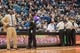 Apr 16, 2014; Minneapolis, MN, USA; Utah Jazz head coach Tyrone Corbin waits for the replay in double overtime against the Minnesota Timberwolves at Target Center. The Utah Jazz win 136-130 in double overtime. Mandatory Credit: Brad Rempel-USA TODAY Sports