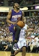Apr 16, 2014; Sacramento, CA, USA; Phoenix Suns guard Dionte Christmas (25) goes up against Sacramento Kings guard Ray McCallum (3) during the second quarter at Sleep Train Arena. Mandatory Credit: Kelley L Cox-USA TODAY Sports