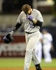 Apr 16, 2014; San Diego, CA, USA; Colorado Rockies right fielder Charlie Blackmon (19) walks off the field after flying out to end the game against the San Diego Padres at Petco Park. The Padres won 4-2. Mandatory Credit: Christopher Hanewinckel-USA TODAY Sports