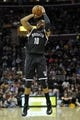Apr 12, 2014; Cleveland, OH, USA; Brooklyn Nets guard Marcus Thornton (10) shoots in the first quarter against the Cleveland Cavaliers at Quicken Loans Arena. Mandatory Credit: David Richard-USA TODAY Sports