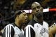 Apr 12, 2014; Cleveland, OH, USA; Brooklyn Nets forward Paul Pierce (left) talks to center Kevin Garnett (2) at halftime of a game against the Cleveland Cavaliers at Quicken Loans Arena. Mandatory Credit: David Richard-USA TODAY Sports