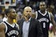 Apr 12, 2014; Cleveland, OH, USA; Brooklyn Nets head coach Jason Kidd (center), guard Marquis Teague (left) and center Andray Blatche (0) walk off the court after a 114-85 loss to the Cleveland Cavaliers at Quicken Loans Arena. Mandatory Credit: David Richard-USA TODAY Sports