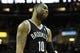 Apr 12, 2014; Cleveland, OH, USA; Brooklyn Nets guard Marcus Thornton (10) reacts after a 114-85 loss to the Cleveland Cavaliers at Quicken Loans Arena. Mandatory Credit: David Richard-USA TODAY Sports