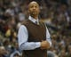 Apr 16, 2014; Denver, CO, USA; Denver Nuggets head coach Brian Shaw during the first half against the Golden State Warriors at Pepsi Center.  The Warriors won 116-112. Mandatory Credit: Chris Humphreys-USA TODAY Sports