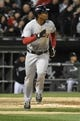 Apr 17, 2014; Chicago, IL, USA; Boston Red Sox shortstop Xander Bogaerts (2) watches his home run against the Chicago White Sox during the sixth inning at U.S Cellular Field. Mandatory Credit: David Banks-USA TODAY Sports